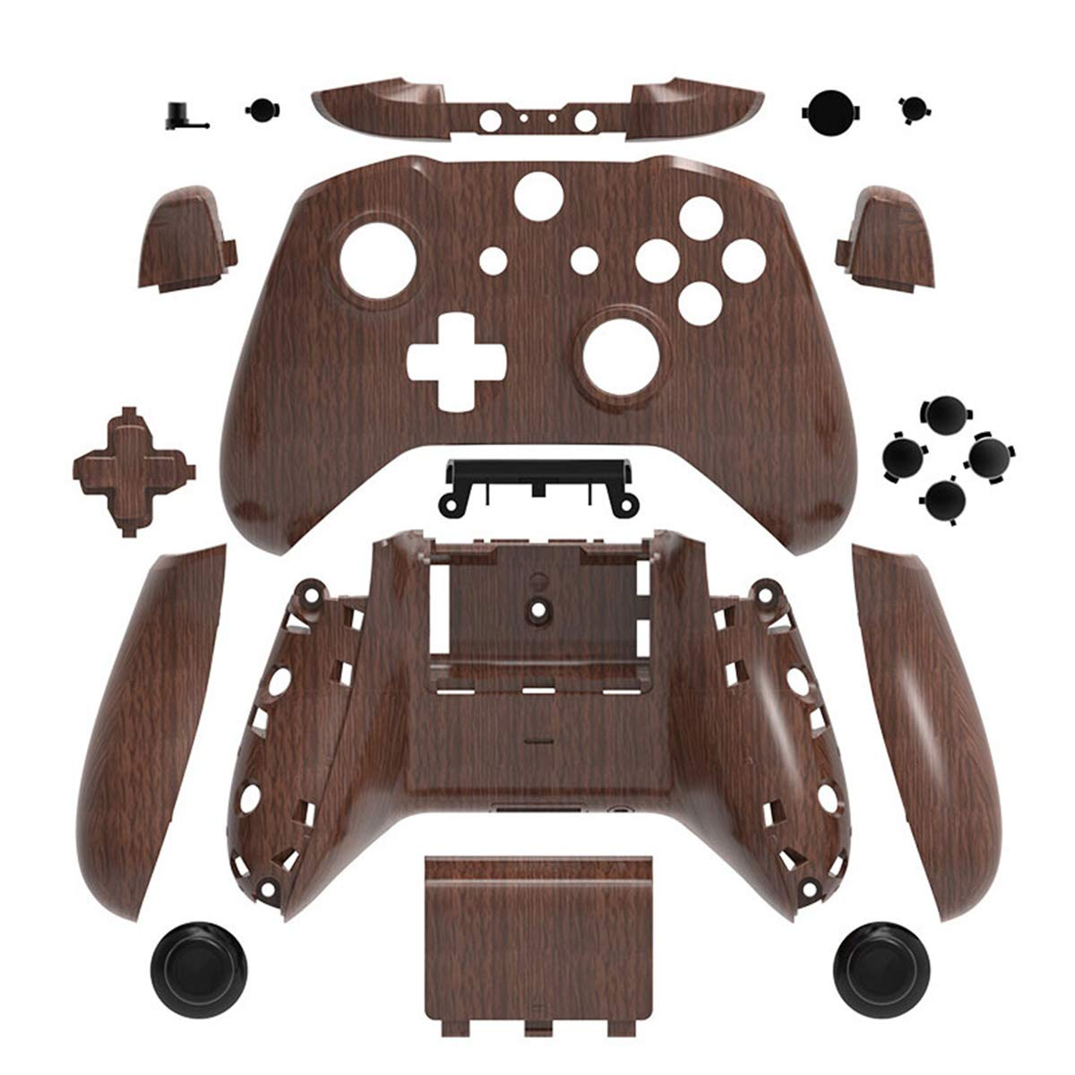 Wood Grain Hydro Dipped Full Housing Shell Case Cover Mod Kit Replacement for Xbox One S & Xbox One X Controller DIY Custom Including Front Faceplate Bottom Shell Buttons Tools Wooden Pattern