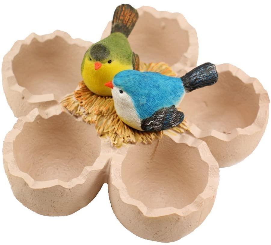 Vpang Resin Flower Pot Creative Birds Eggs Design Micro Landscape Artificial Creative Succulent Plants Pot Vase (Bird)