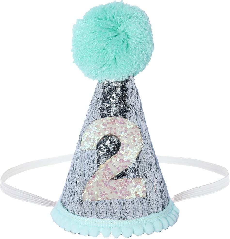 Perktail Glitter Dog First Birthday Cone Hat Mini Doggy Cat Kitty Birthday Party Hats