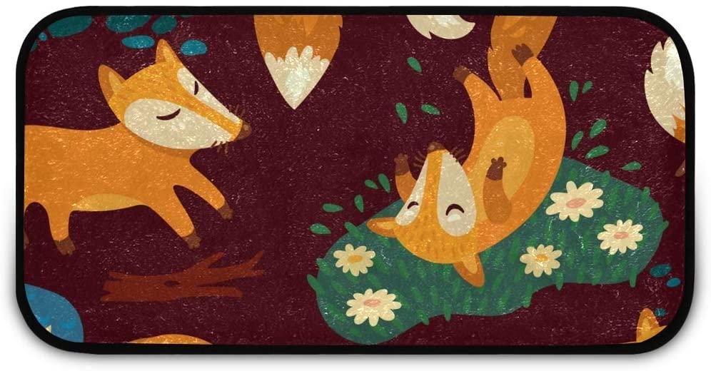Rectangle Shaggy Rug Kitchen Mat for Kids Animal Floral Fox Striped Anti-Slip Rug Rectangle Carpet Play Mat