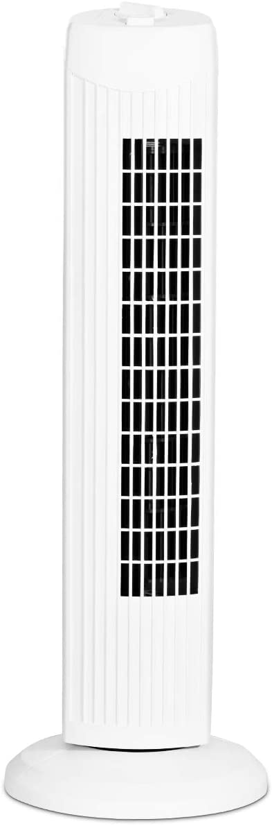 COSTWAY Tower Fan, 28-Inch Oscillating Tower Fan, Quiet Cooling Whole Room Bladeless, 3 Speed, 3 Wind Mode, Oscillating Tower Fan for Bedrooms, Living Rooms, Kitchen (White)