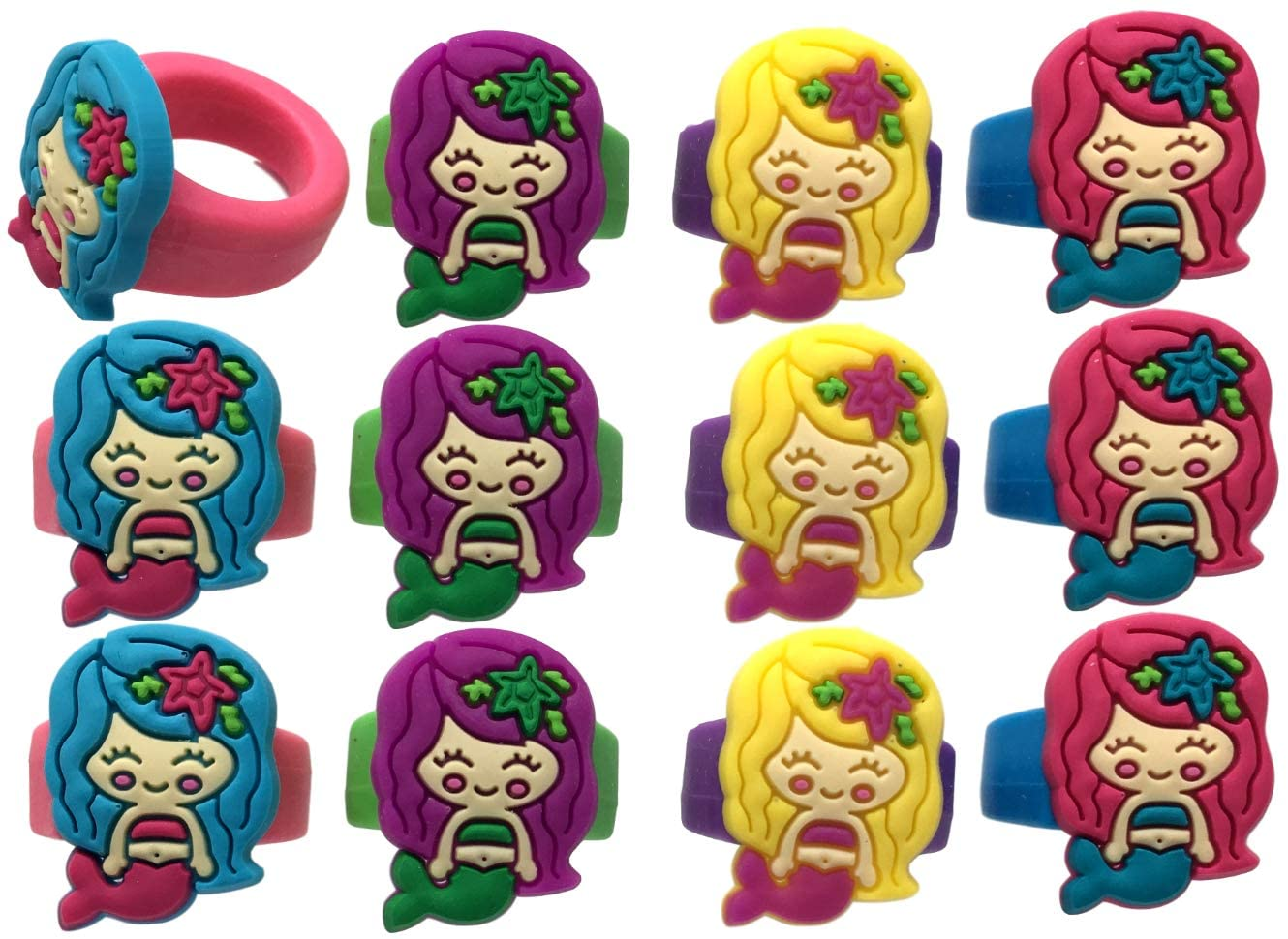 Adorable Mermaid Party Favor Rings for Girls-12 Pack
