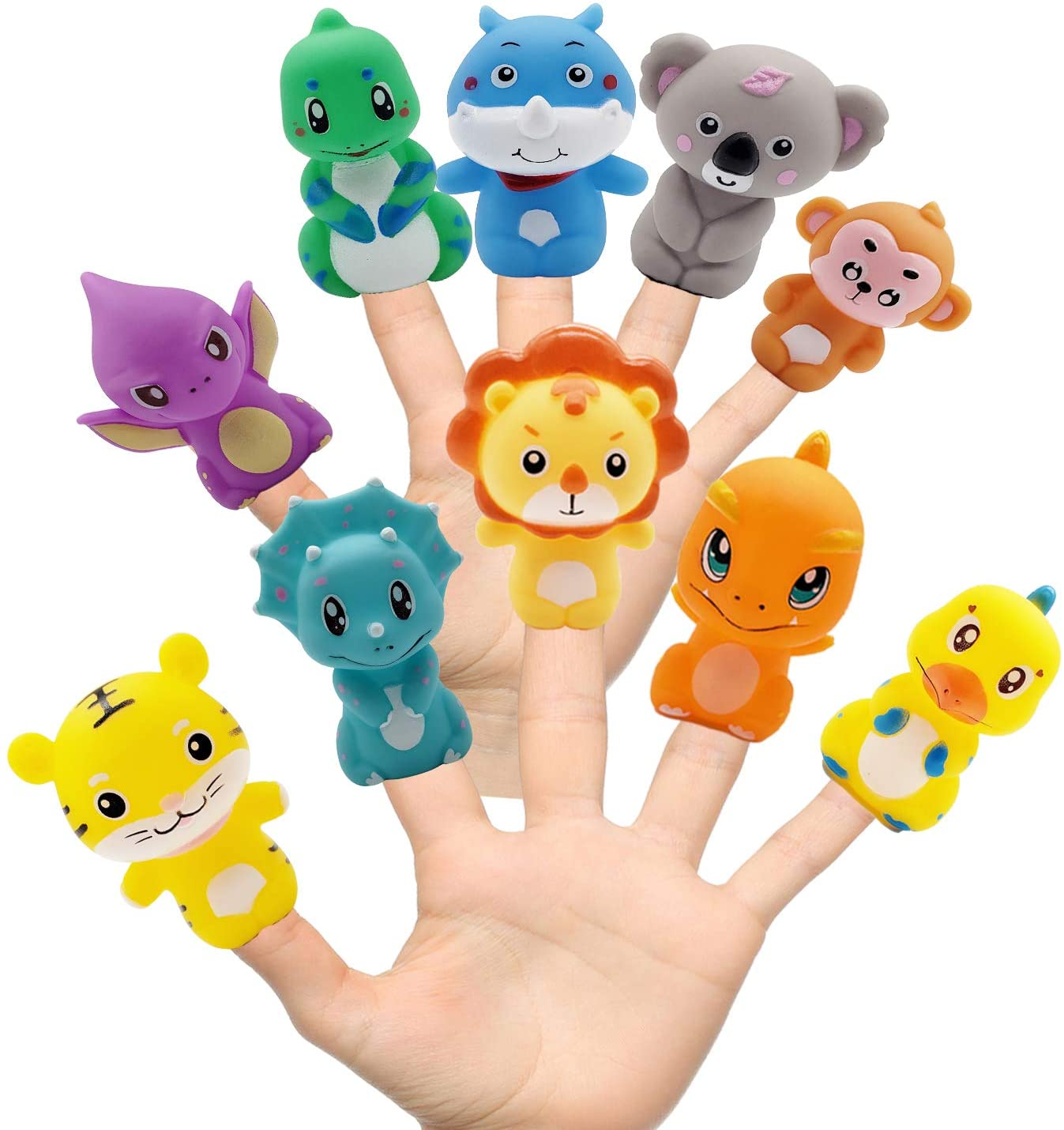 HUAIOU Rubber Animals Finger Puppets for Todders,Bath Toys, Colorful Storytelling Toys for Teaching Show, Goodie Bags Fillers, Classroom Prizes, Pinata Fillers , Stocking Stuffer, Kids Gift