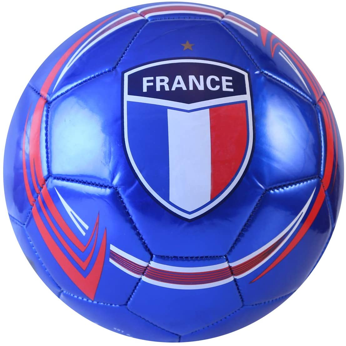 Machine Stitch Soccer Ball with France Country Name Design C Size: 5 (Blue)