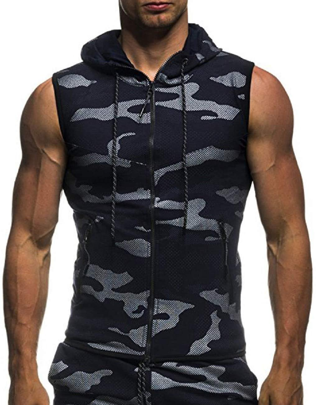 FAPIZI Men's Workout Hooded Tank Tops Camouflage Bodybuilding Muscle Cut Off T Shirt Sleeveless Gym Hoodies Vest
