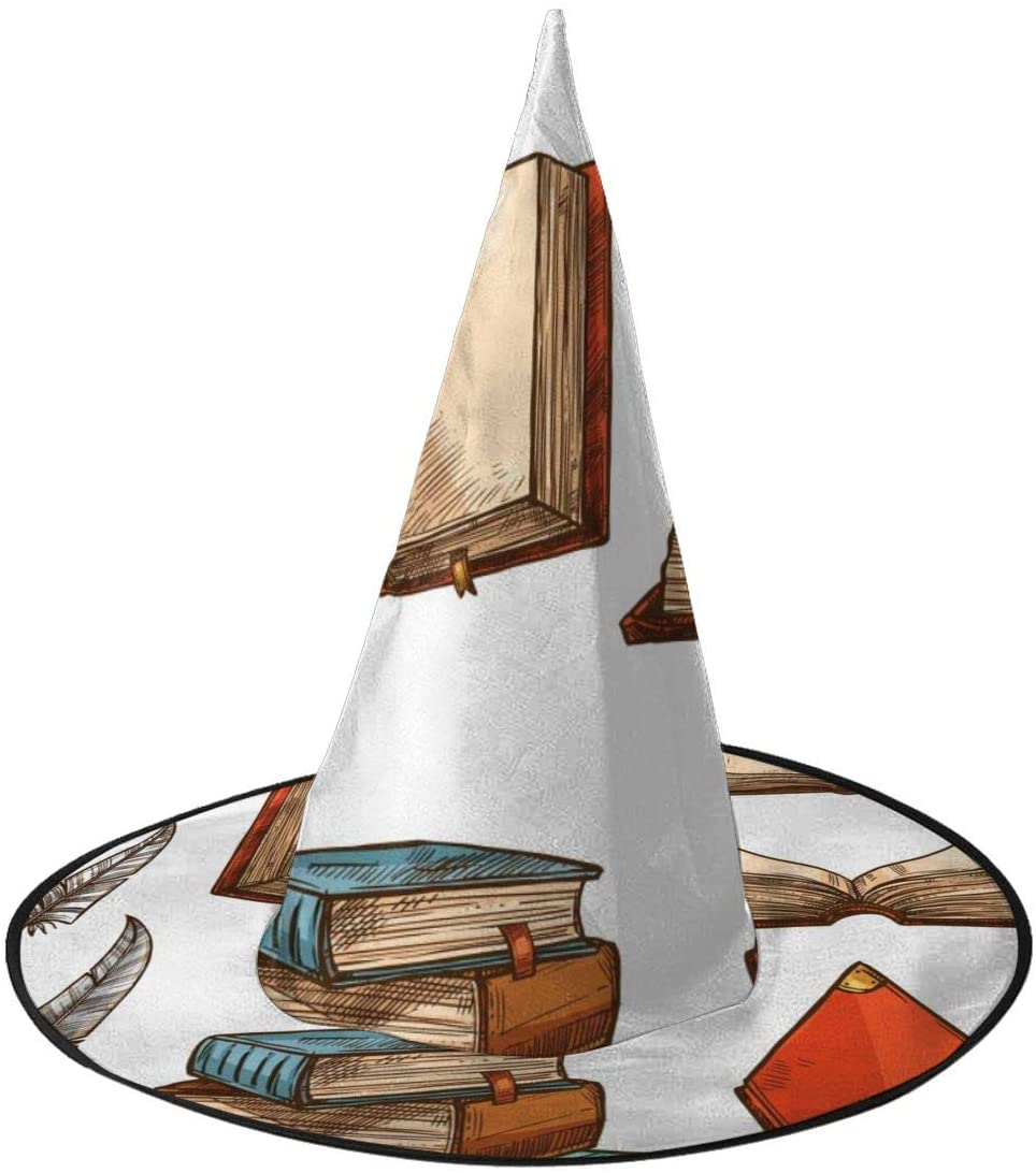 Halloween Costume Witch Hat,Trendy Old Books Accessory for Holiday Halloween Party