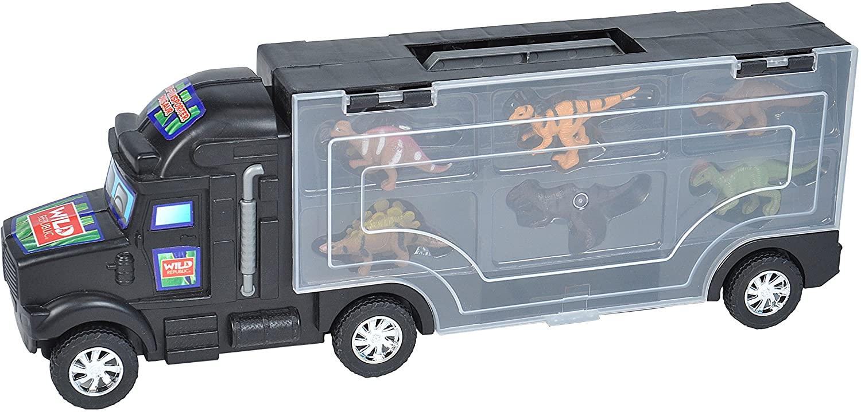 Wild Republic Dino, Stegosaurus, Raptor, T-Rex, & More, Gifts for Kids, Dinosaur Party Supplies, 6Piece Semi Transport Playset