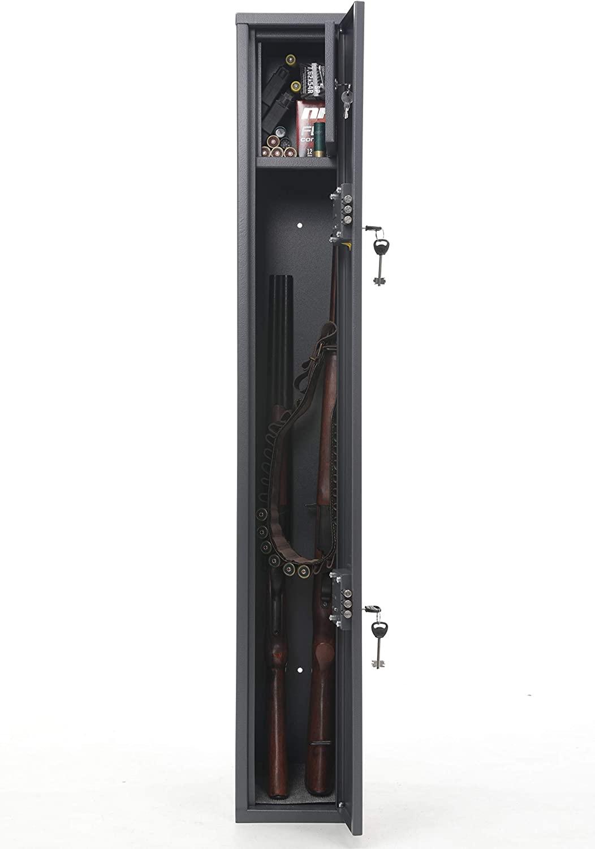 Buffalo 1325 Gun Rifle Shotgun Metal Security Cabinet Safe Storage Case Rack with Separate Lock Box for Handguns Ammo