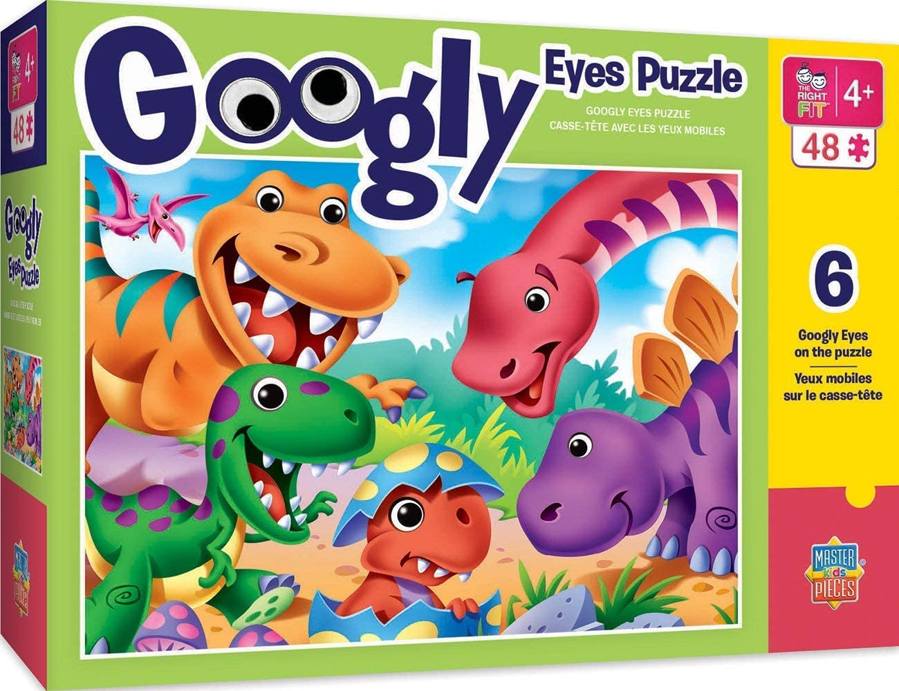 MasterPieces The Right Fit Kids Googly Eyes Jigsaw Puzzle, Dinosaurs, Tillywig Top Fun Award, 48 Pieces, For Ages 4+
