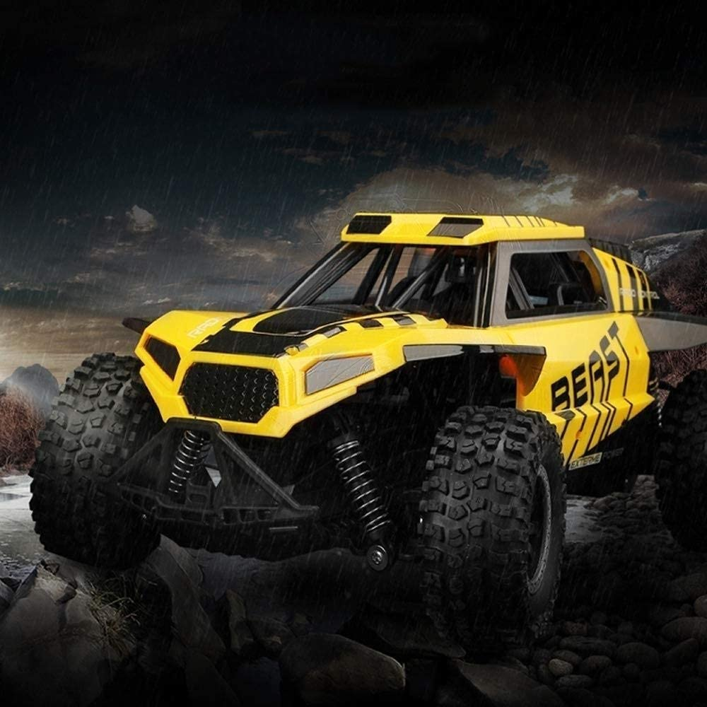 Xuess Charging Toy High Spped Big Foot Remote Control Car 4×4 Anti-Fall RC Vehicle SUV Spring Suspension Suitable for Any Terrain Children Gifts Kids Toy Educational Toys (Color : Yellow)