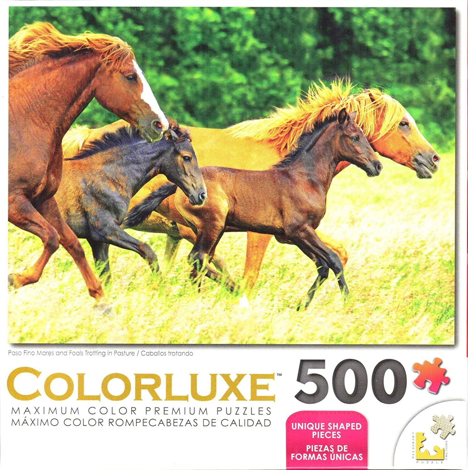 George Colorluxe 500 Piece Puzzle - Paso Fino Mares and Foals Trotting in Pasture