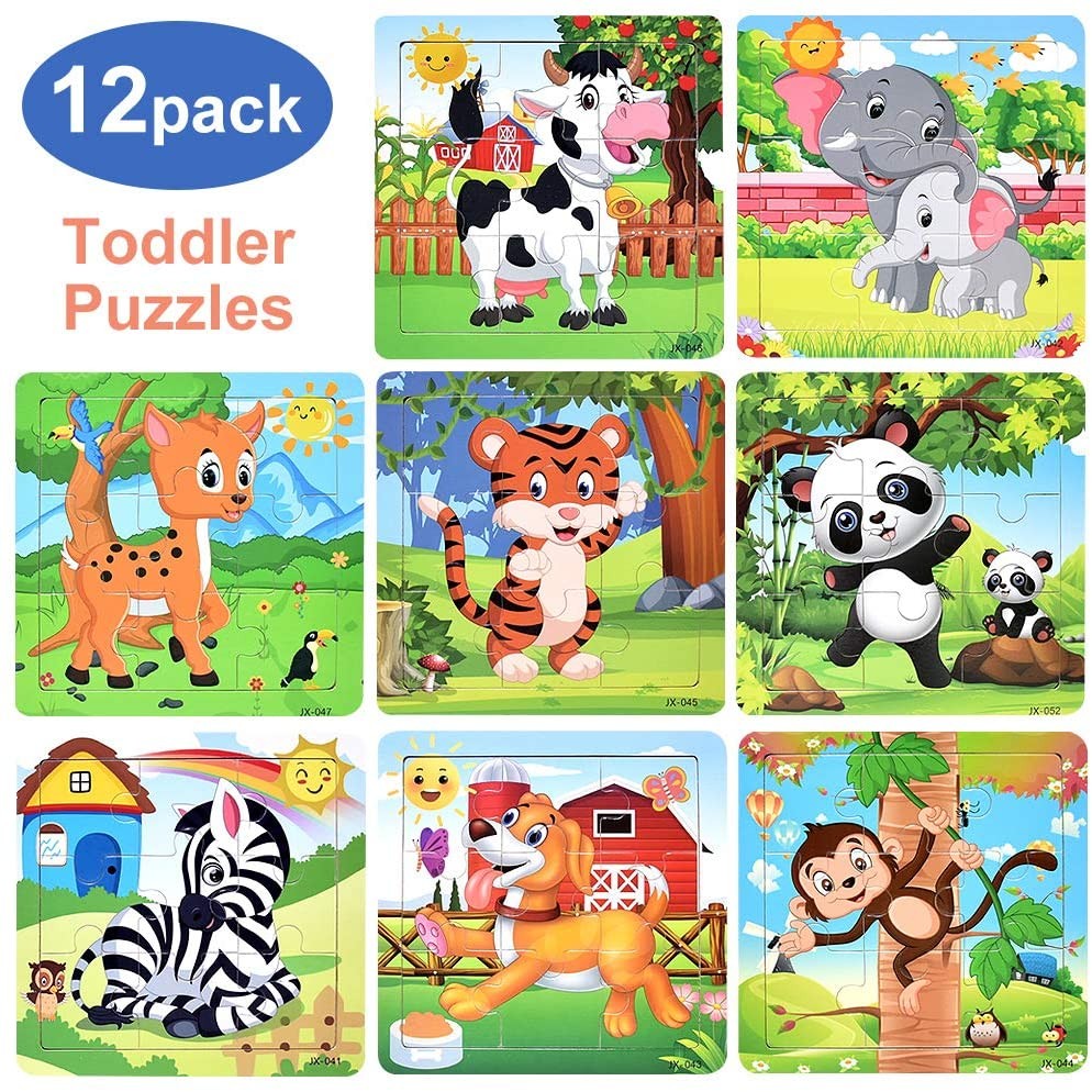 Wooden Jigsaw Puzzles for Kids Ages 2-5 Toddler Animals Puzzle 9 Pieces Preschool Educational Learning Toys Puzzles for Toddlers 2 3 4 5 Year Olds Children Boys and Girls Puzzles (12 Puzzles)
