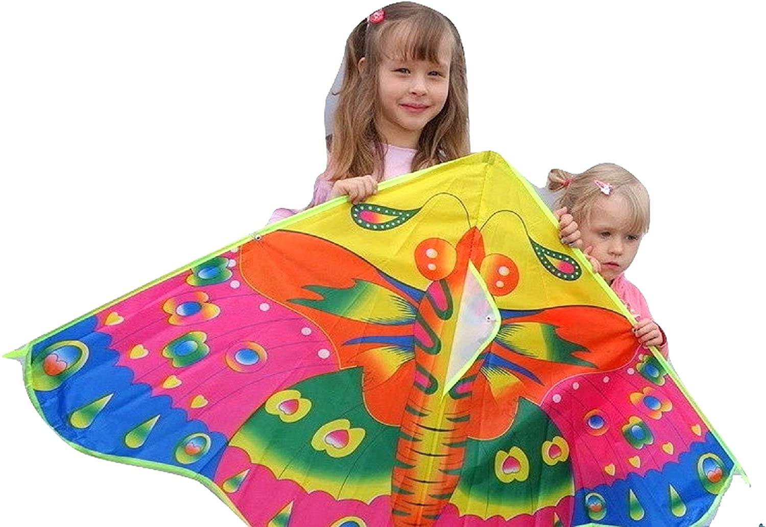 SoGreat Huge Colorful Butterfly Kite for Kids, Long, Flowing Tails, Beautiful Colors and Durable Polyester Fabric, Includes Plastic Handle and 30 Meters of String