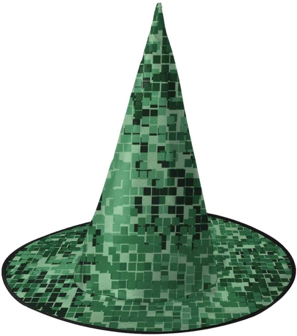 Halloween Witch Hat,Jungle Two-Layer Pixel Halloween Costume Witch Hat for Holiday Party