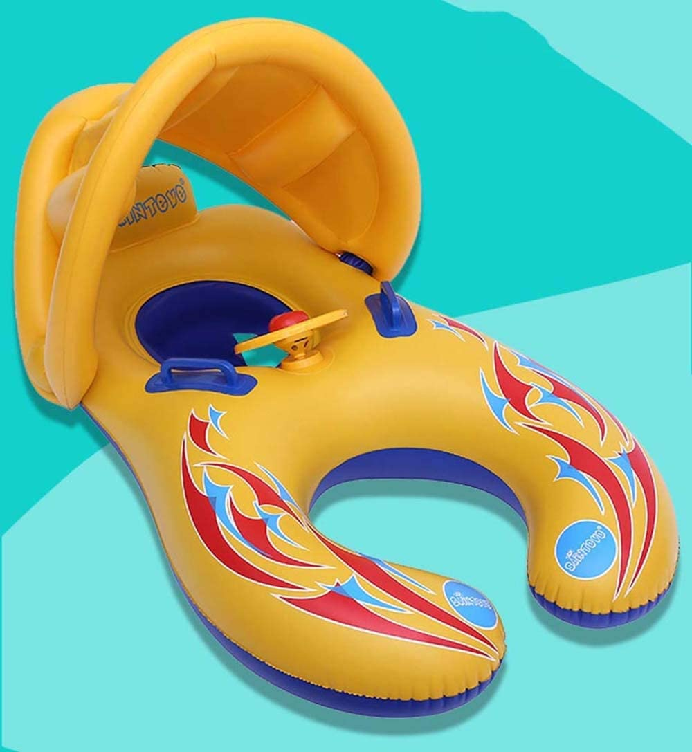 Waitousanqi Yellow Environmentally Friendly Inflatable PVC Detachable Double Swim Ring, Sunshade Round Inflatable Seat, Summer Seaside Surf Toy 110 65cm Q65