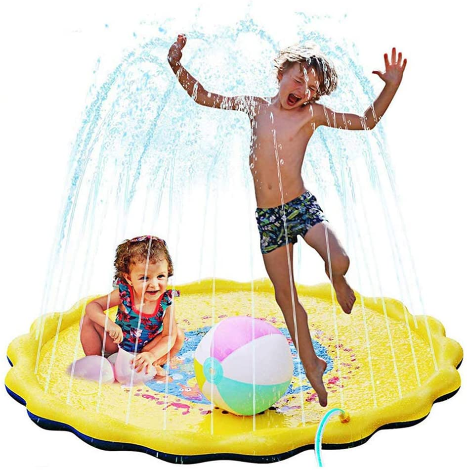 AIZYR Inflatable Sprinklers Splash Pad for Toddlers, Outdoor Water Mat Toys Sprinkler Play Mat Wading Baby Pool for Learning Water Pad Toy