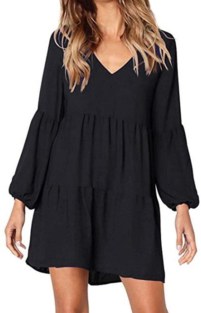 Shakumy Women Long Sleeve Tunic Dress Casual V Neck Loose Flowy Swing Ruffle Shift Dress Knee Length Tops Short Mini Dress