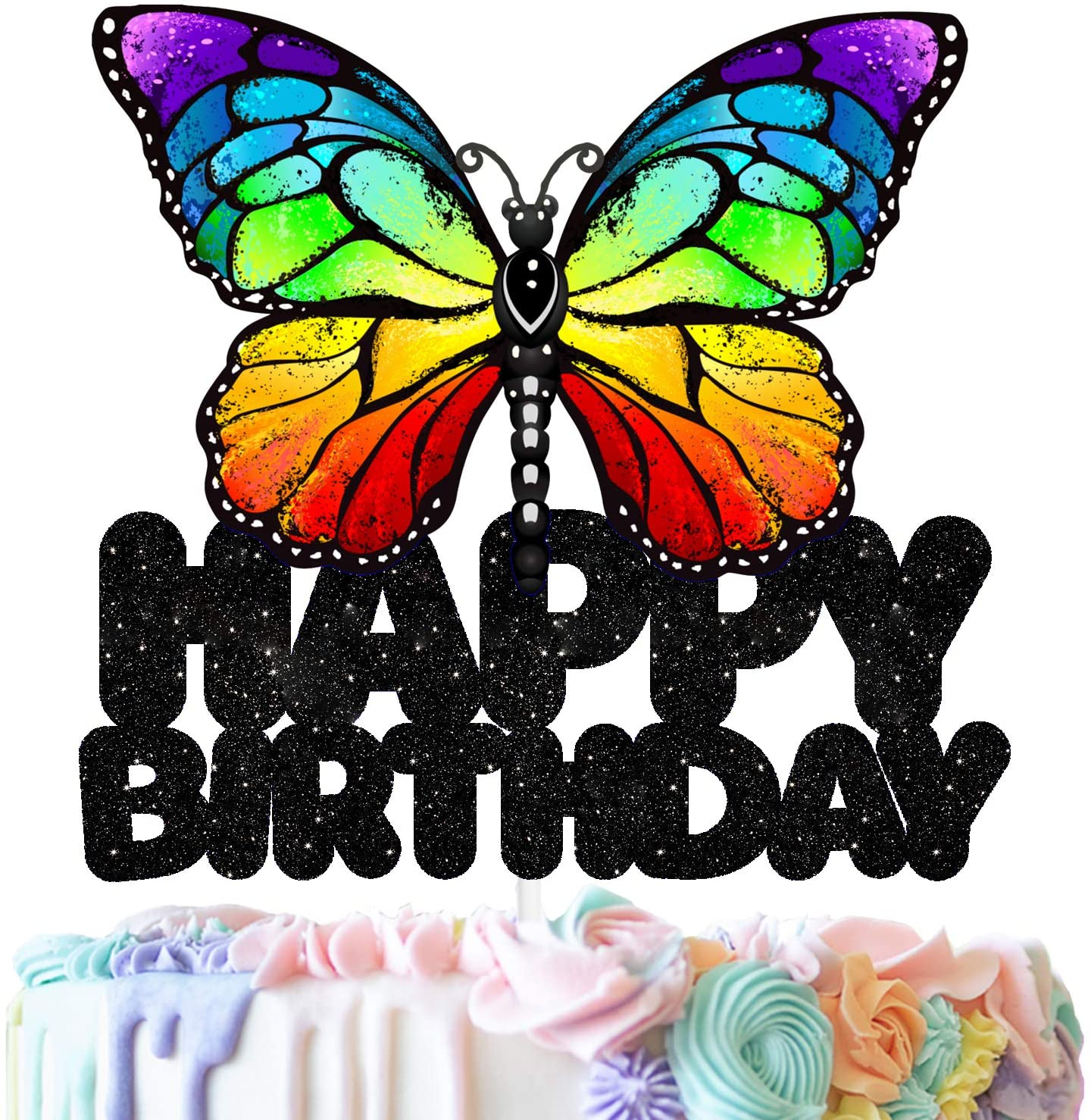 Butterfly Happy Birthday Cake Topper Decorations with Multicolored Butterfly for Birthday Theme Baby Shower Party Decor Supplies