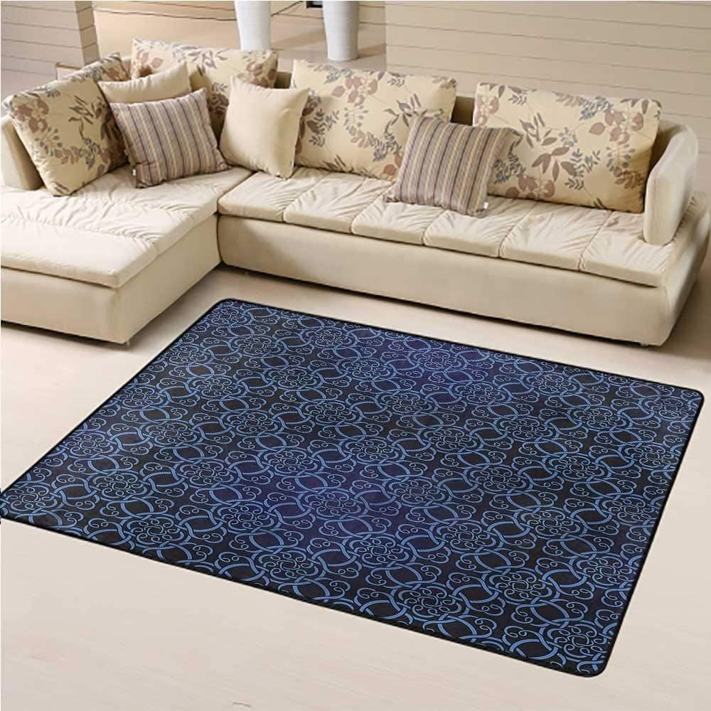 Carpet Royal Blue, Circular Swirled Lines Modern Kids Carpet Suitable for Children Bedroom Home Decor 3 x 5 Feet