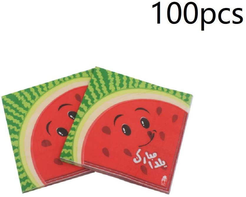 100-Pack Decorative Napkins Disposable Paper Party Napkins for Birthday Parties, Celebrations and Special Occasions - Watermelon Design