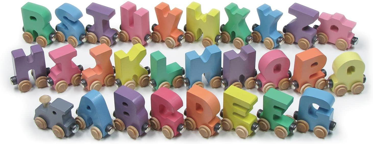 NameTrain Pastel Finish Alphabet Train (A-Z) - Made in USA