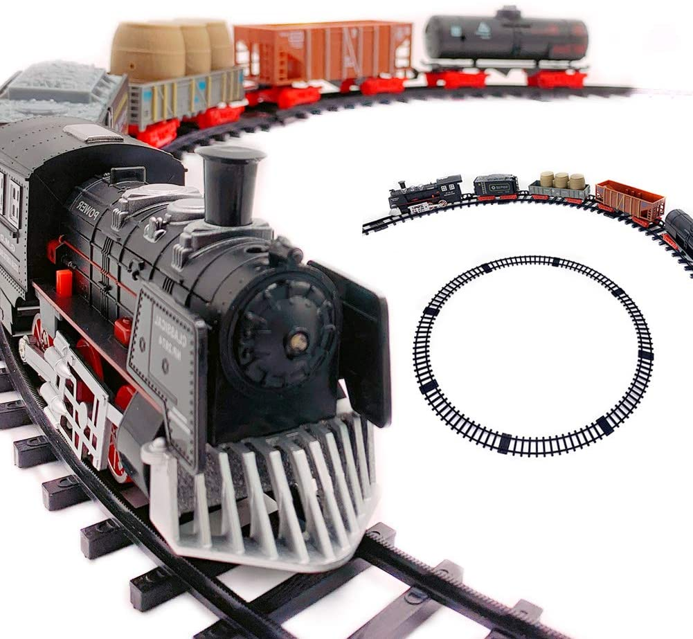 LACHADA Kids Train Set with Sounds Railway Track Sets Batter-Operated Automatic Track Toys for Under The 30 Inch Xmas Tree-Christmas Birthday Gift for Boys Girls Toddler Children