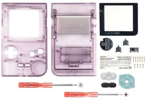 FidgetFidget Limited Full Housing Shell Buttons Mod Repair for Nintendo Game Boy Pocket GBP Transparent Purple
