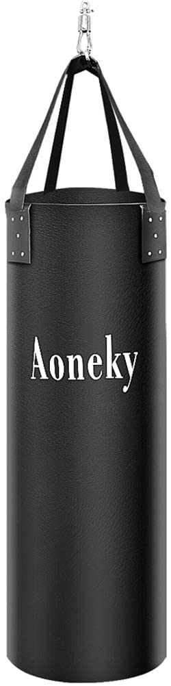 Aoneky Muay Thai Unfilled Heavy Bag - 6ft Punching Bag - Leather Boxing Bag