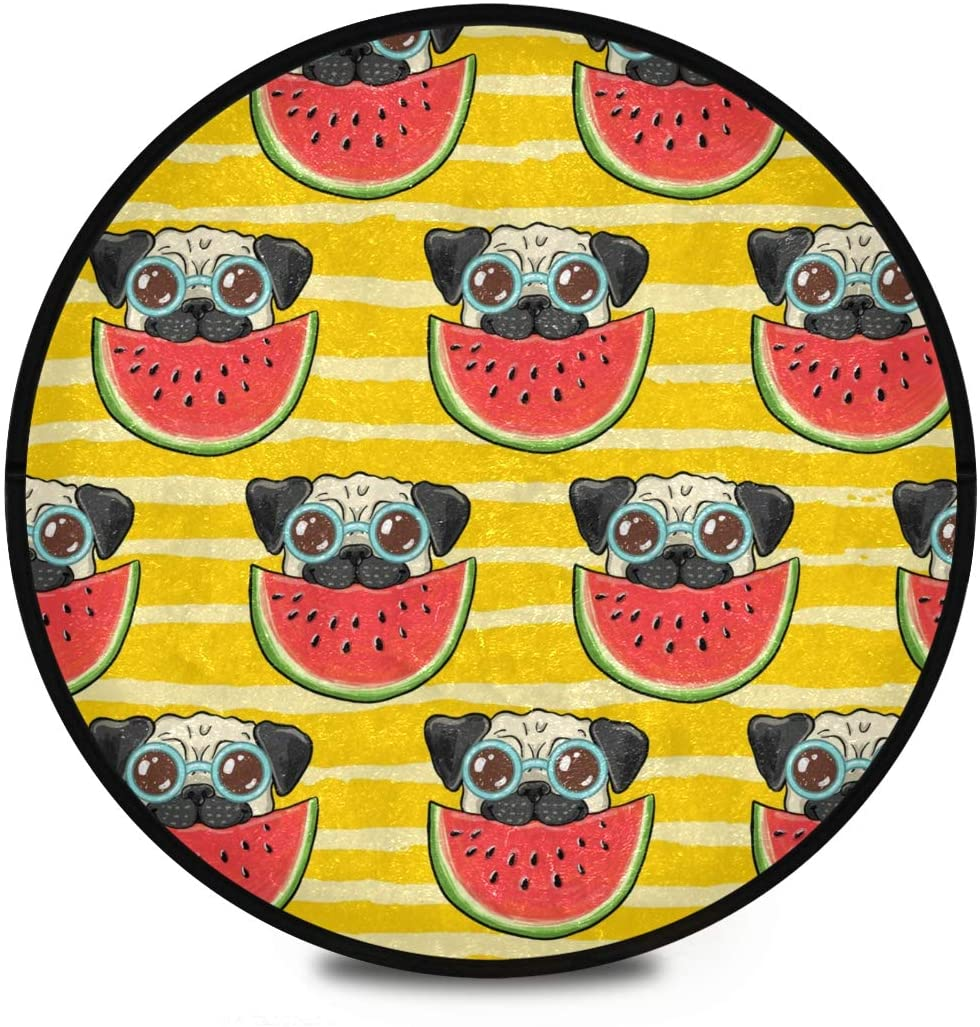 Shaggy Round Mat Cute Pug Dog Watermelon Small Round Rug for Kids Bedroom Anti-Slip Rug Room Carpets Play Mat
