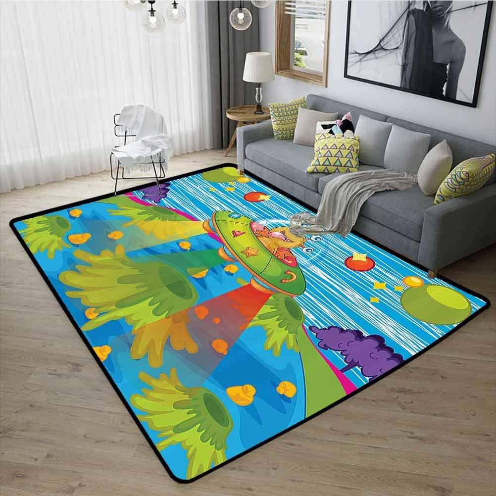 Outer Space Decor Carpet, Strong and Durable Rubber Durable Non Slip for Home, Nursery, Bed and Living Room for Kids Scary Monster in UFO on Planet Solar System Galaxy Funky Back, W15 x L23