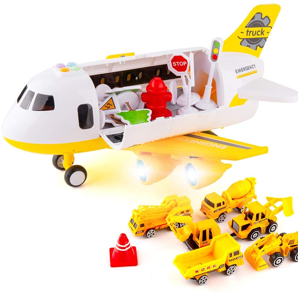 TGRCM-CZ Air Plane Model with 5 Construction Vehicles,Aircraft with Sound and Lights and 5 Construction Vehicles Combination Scene, Suitable for 3 4 5 6 7 Years Old Children Boys and Girls Gifts