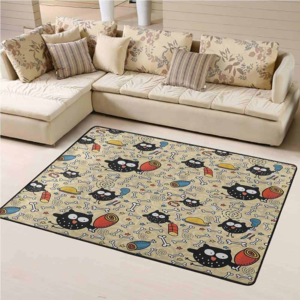 Kids Rug Doodle for Kids Playroom Hungry Owls with Lots of Bones and Chunks of Meat Eating Cute Drawing Doodle 5 x 8 Ft Black Multicolor