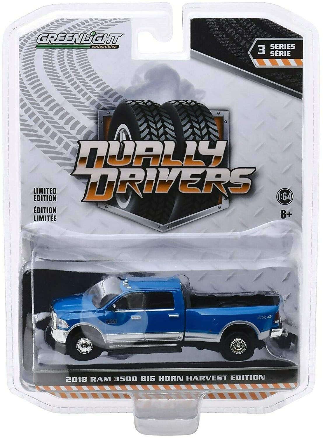 Greenlight 46030-D Dually Drivers Series 3-2018 Ram Harvest Edition Dually - New Holland Blue 1:64 Scale