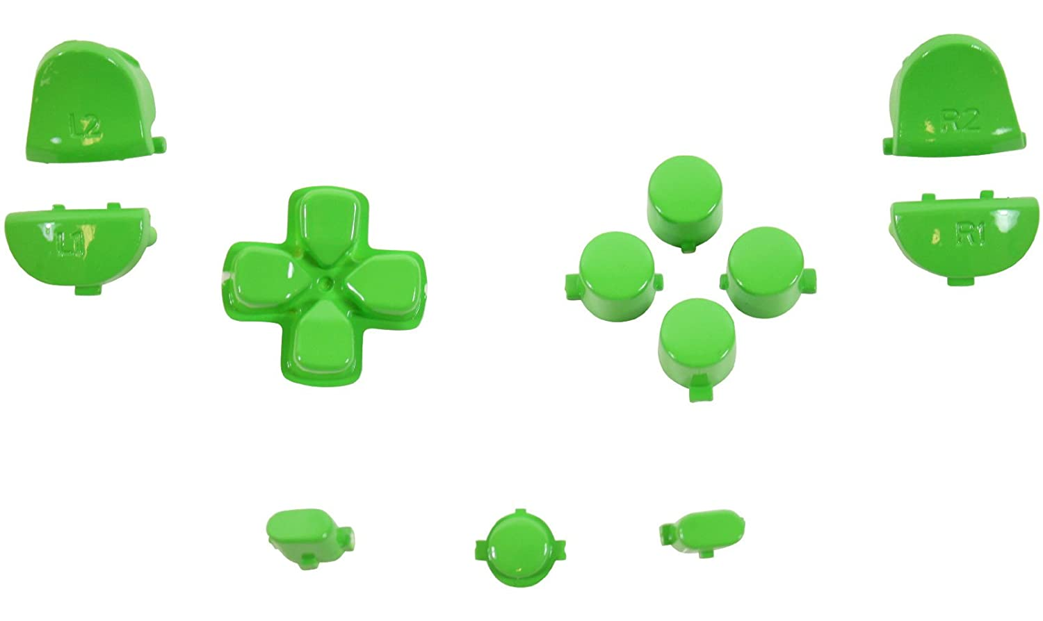 ModFreakz® Button Set Dpad Share Polished Green For PS4 Gen 1,2 V1 Controller
