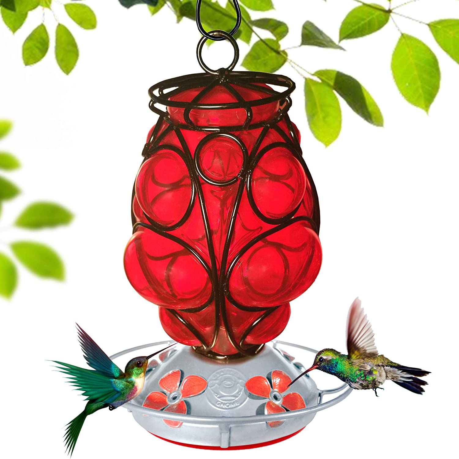 Grateful Gnome - Hummingbird Feeder - Hand Blown Glass - Moroccan Lantern - 28 Fluid Ounces Free Bonus Accessories S-Hook, Ant Moat, Brush and Hemp Rope Included