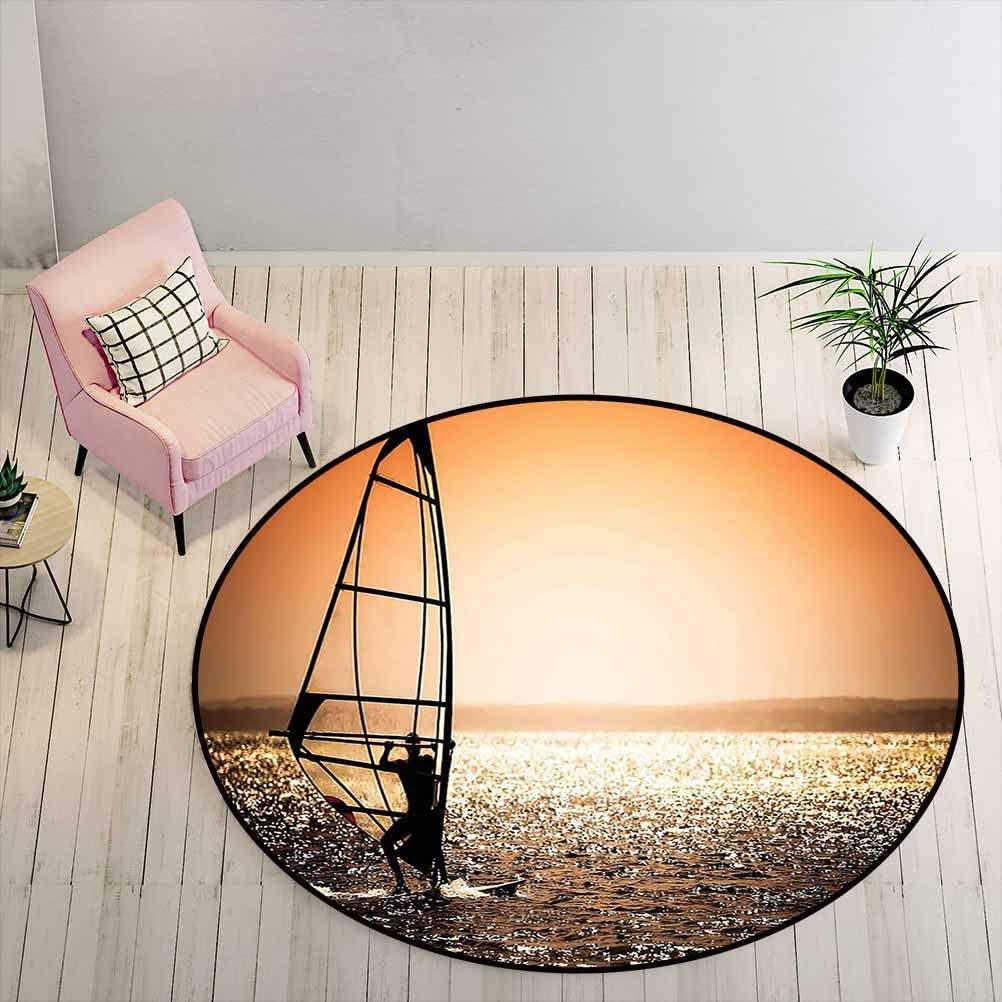 Carpet Windsurfer Silhouette Sunset Water Sports Summertime Fun Holiday Art Kids' Room Rug for Living Room Girls Rooms Dark Orange Black White Diameter - 6.5 Feet