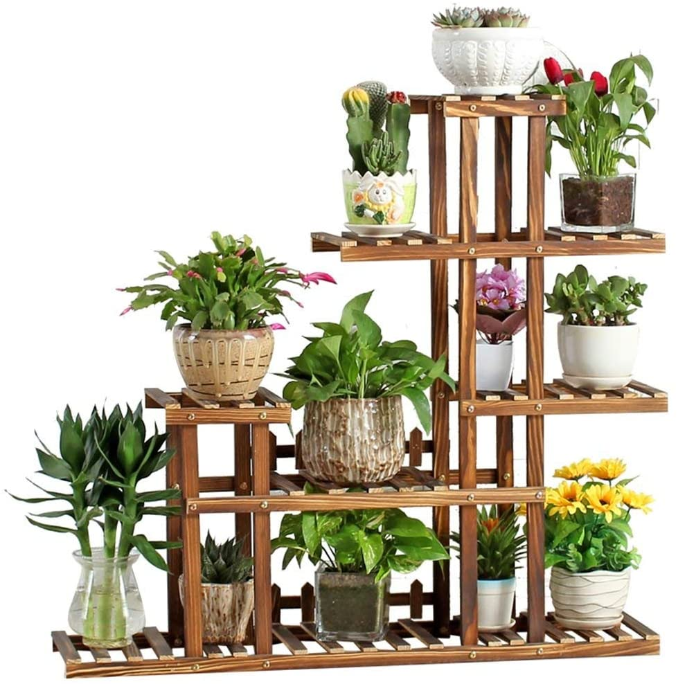 PLLP Home Plant Stand, Tiers Garden Decoration Wooden Shelving/Solid Wood Flower Pot Stands/Multi-Storey Anti-Corrosion Indoor Outdoor Wooden Floor Display Racks]:Kinds of Styles]:with Wheels,C