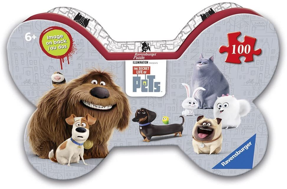 Ravensburger The Secret Life of Pets Puzzle In Bone Shaped Box 300 Piece Jigsaw Puzzle for Kids – Every Piece is Unique, Pieces Fit Together Perfectly