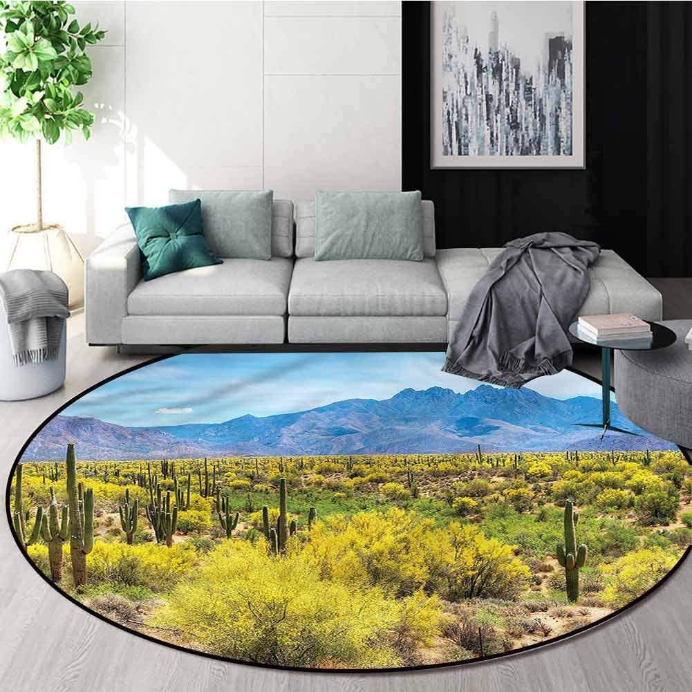 RUGSMAT Saguaro Modern Machine Washable Round Bath Mat,Four Peak Hills Arizona Foam Mat Living Room Decor Round-24