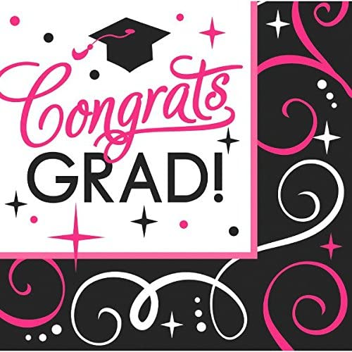 amscan Sparkling Graduation Party Congrats Grad Beverage Paper Napkins (Pack of 36), Pink/Black, 5 x 5