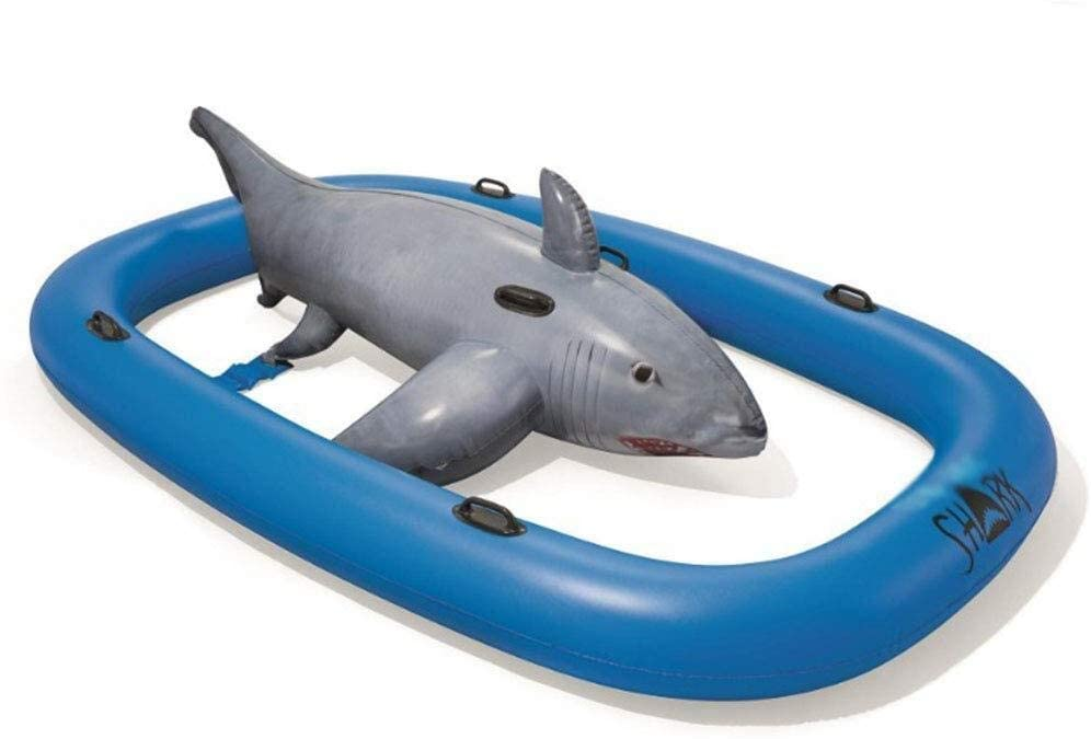 Waitousanqi Giant Shark Model Inflatable Swimming Pool Floating Row, Recliner, Swimming Pool Float, Adult Toy Swimming Buoy, 310 X 213cm Q65