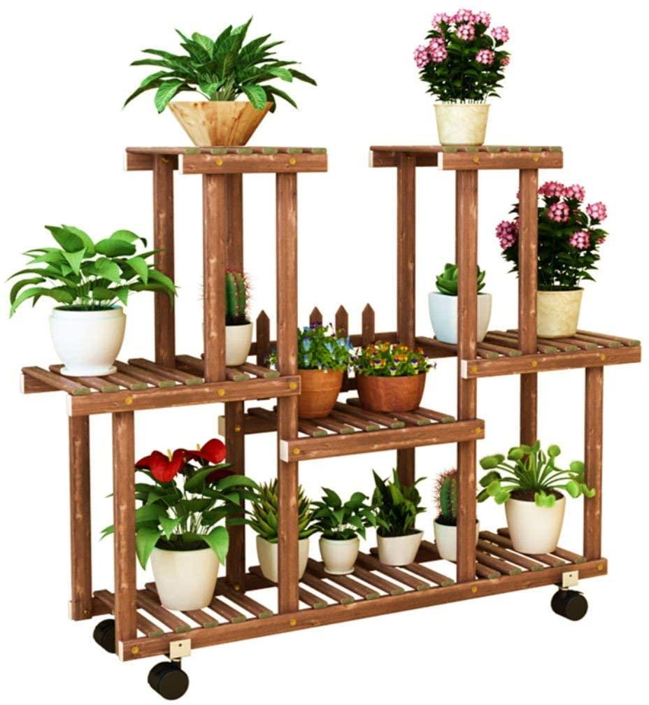 PLLP Home Plant Stand, Multi-Layer Garden Display Shelf Plant Stand Anti-Corrosion Wooden Interior Flower Pot Storage Shelf with Wheels Flower Shelf Tiers Balcony Decoration Floor Standing