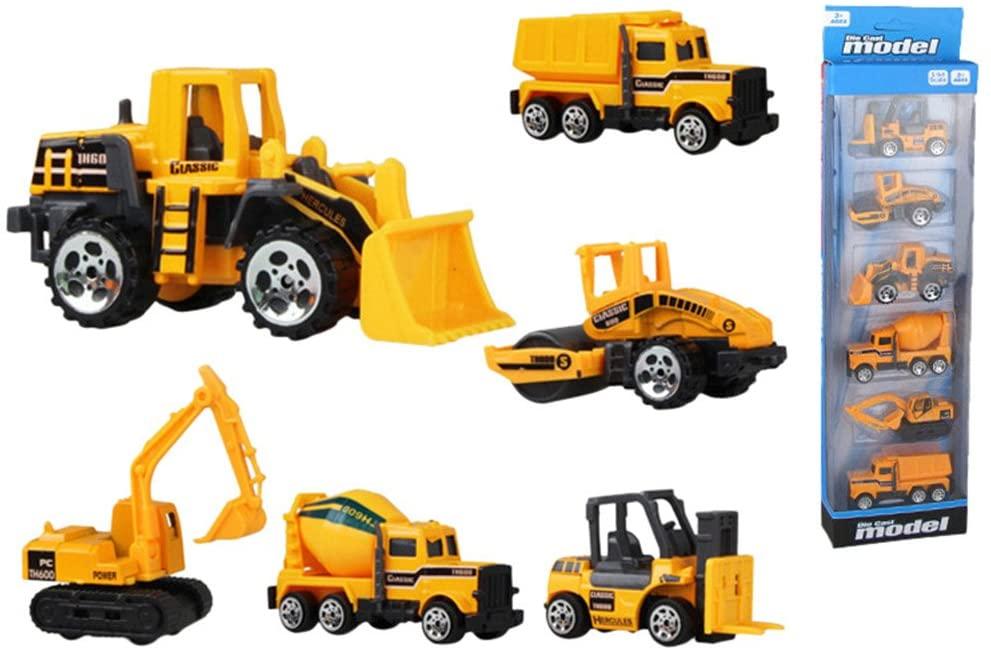 Aimeely Creative 1:64 Scale Die Cast Construction Vehicle Model Boy Kids Car Toy Set 6PCS