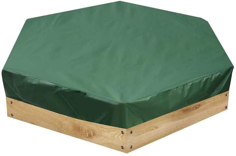 LKA Sandbox Cover Waterproof Dustproof Sandbox Cover with Drawstring UV Resistant Hexago Sandpit Cover for Outdoor Swimming Pool in Home Garden Green