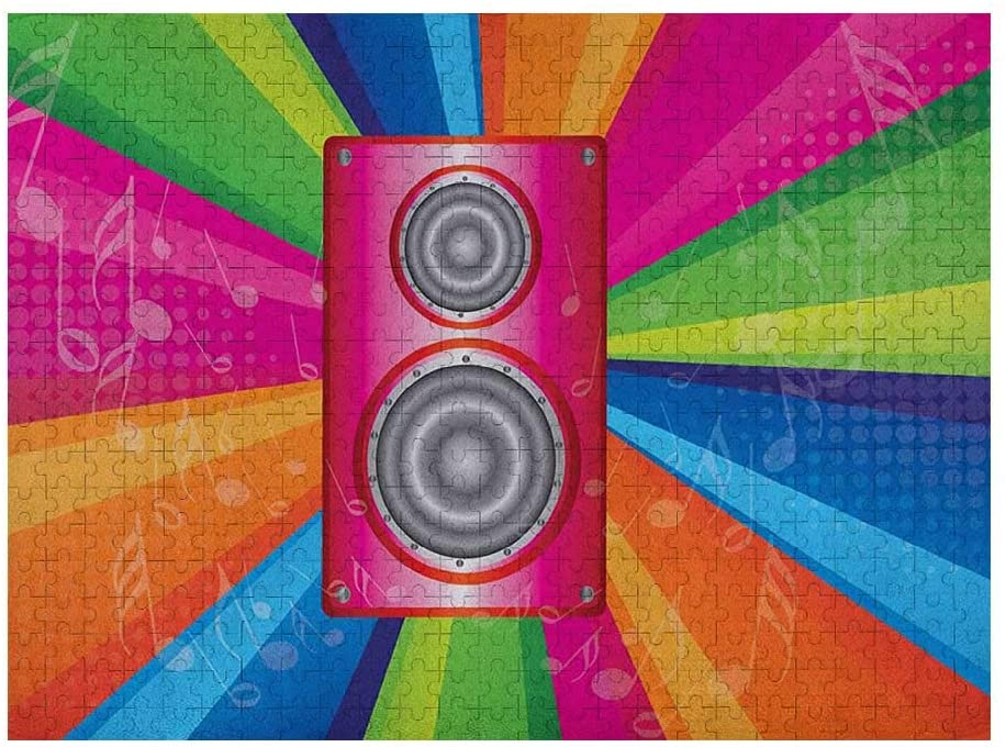 GugeABC Vintage Rainbow 3D Puzzles for Adults 500 Piece, Discotheque Pop Party of The 60s 70s Theme Musical Notes and Pink Stereo, Multicolor