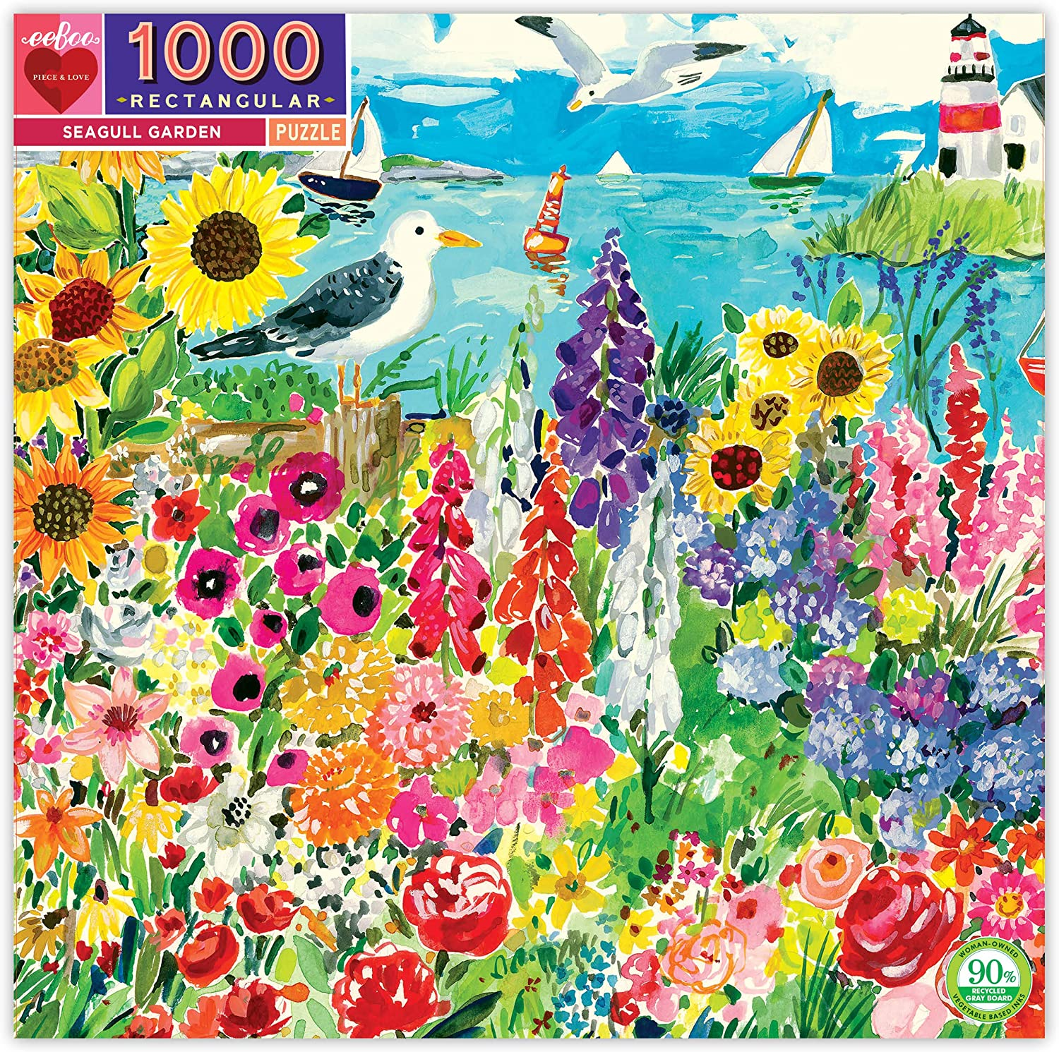 eeBoo Seagull Garden Jigsaw Puzzle for Adults, 1000 Pieces