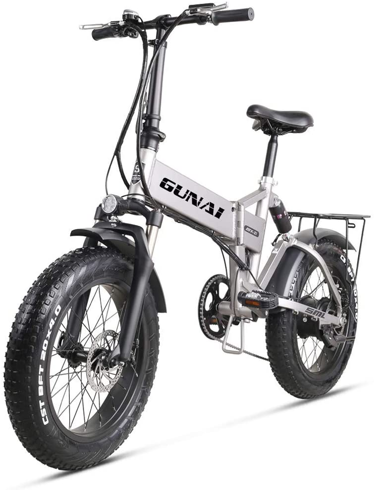 QX Scooter 20 inch Electric Snow Bike 500W Foldable Mountain Bike with 48V 12.8Ah Lithium Battery and Disc Brake Mountain E-Bike