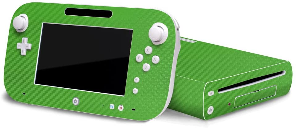 3D Carbon Fiber Lime Green - Air Release Vinyl Decal Faceplate Mod Skin Kit for Nintendo Wii U Console by System Skins