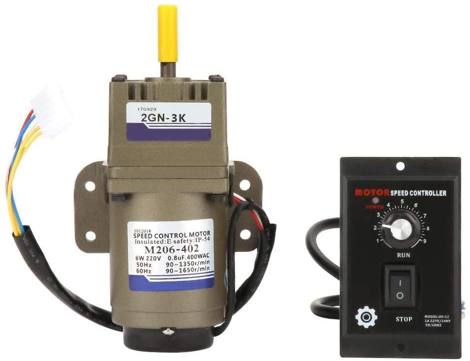 DSY Gear motors, AC 220V 6W Adjustable Rate Single Phase Asynchronous Gear Motor Deceleration Retarding Machine Governer for Transport Equipment Machine Tool Industry(3K)