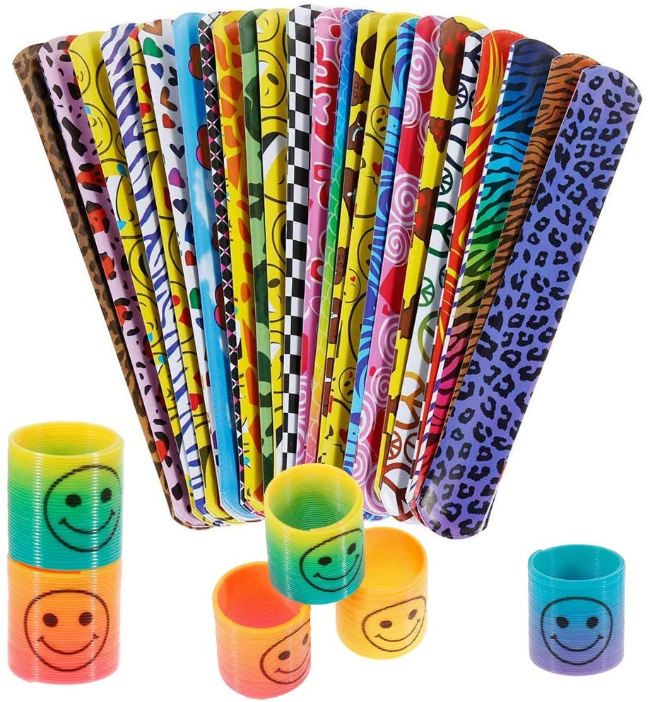 INTVN Mini Smile Springs Rainbow Circle Toy and Slap Band Slap Bracelets Party Bag Fillers for Children, Mixed Color, 24 Sets
